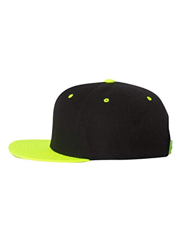 Yupoong 6089MT Classic Snapback Pro-Style Wool Cap by Flexfit Two Tone - One Size (Black/Neon Green)