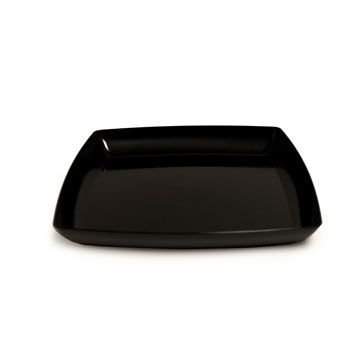 12 in. Black Square Plastic Tray Party Accessory