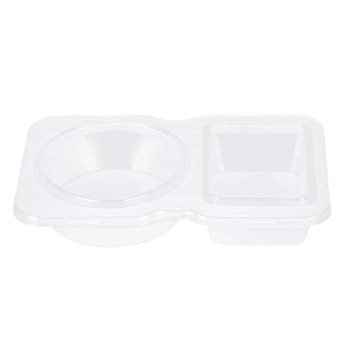 40 Pack Slime Storage Containers Transparent Plastic Disposable Sauce Cups 5-Ounce Doble Grid Takeaway Food Storage Containers for Tomato Sauce Salad Chutney Boxes with Lid (Sauce Container Take Away)
