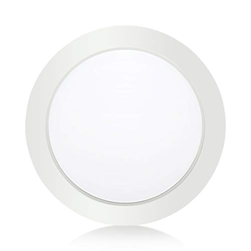 SOLLA 7.5 Inch Dimmable LED Disk Light Flush Mount Ceiling Fixture with ETL FCC Listed, 950LM, 15W (90W Equiv.), Natural White, 4000K, White Finish, Ultra-Thin, Round LED Light for Home, Hotel, Office