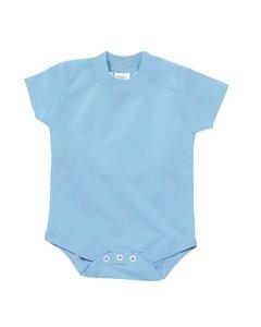 (Rabbit Skins 100% Cotton Infant Baby Football Jersey Bodysuit [Size 6 Months] Light Blue Short Sleeve Onesie)
