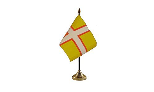 Ukflagshop Pack Of 3 New Dorset County Cross Desktop Table Centrepiece Flag Flags With Gold Bases For Party Conferences Office - Cross County Center