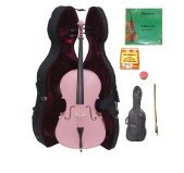 GRACE 4/4 Size Pink Cello with Hard Case + Soft Carrying Bag+Bow+Rosin+Extra Set of Strings+Pitch Pipe