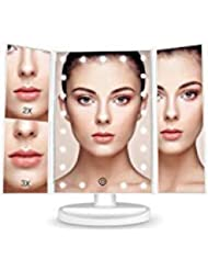 BESTOPE Makeup Vanity Mirror with 21 LED Lights, 3X/2X Magnifying Led Makeup Mirror with Touch Screen,Dual Power Supply,180° Adjustable Rotation,Countertop Cosmetic Mirror