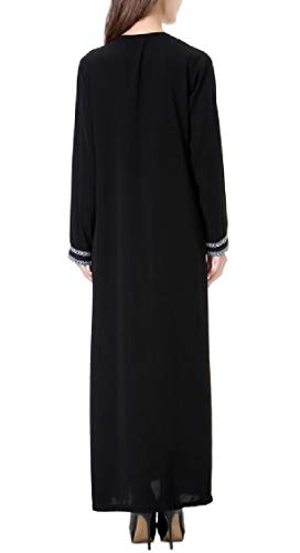 Jaycargogo Womens Manches Longues Musulman Swing Robe Gris Arab Dubai Robe Longue