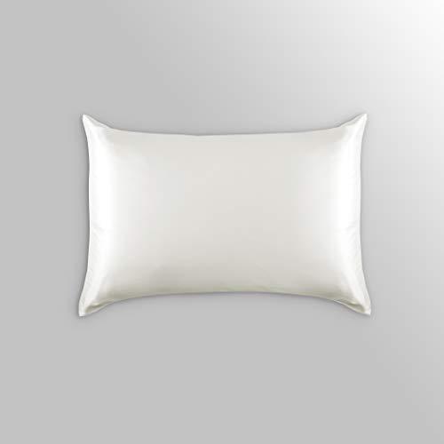 ALASKA BEAR Luxurious 25 Momme Silk Pillowcase, 100% Mulberry Silk Pillow Case Cover, Queen (1, Ivory(Natural Undyed White))