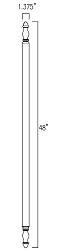 Highland Manor Wood Products Round Traditional Turned Corner Guard- 48'' Long x 1 1/2'' Wide, 90 Degree Notch (Oak) by Highland Manor Wood Products (Image #1)