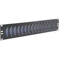 DB25 Feedthru Panel, Loaded, 16 Port, 2U, Male/Female 16 Port Db25 Connector