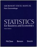Statistics for Business and Economics: Microsoft Excel Manual (9th Ed, w/CD)