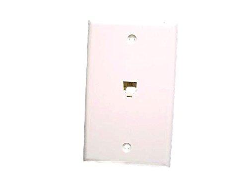 Leviton C0249-W One Piece Flush Mount Phone Jack Wall Plate, White