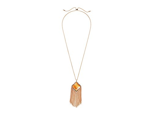Kendra Scott Kingston Pendant Necklace in Rose Gold Plated and Dark Brown Mother of Pearl