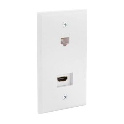 HDMI and Ethernet Wall Plate - White-CE Tech-HDMI/Ethernet - RJ45 Wall Plate (Terminal Hdmi Plate Wall)