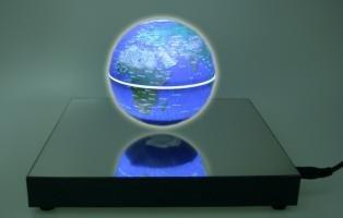 MagicFloater FU 310: Magnetschwebeglobus der neuen Generation. Permanent langsam rotierender und frei schwebender Globus mit Induktionslicht. Schwebehöbe ca. 20 mm
