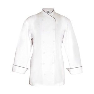 Chef Revival LJ008 Chef-tex Poly Cotton Ladies Corporate Jacket with Black Piping and Cloth Covered Button, X-Large, White by Chef Revival