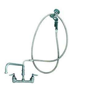TS Brass B-0175 Faucet with Pre-Rinse Spray Unit, Chrome - Mounted Pre Rinse Spray