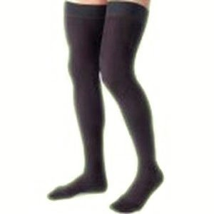 Men's 15-20 mmHg Moderate Support Closed Toe Thigh High Support Sock Size: X-Large, Color: Black