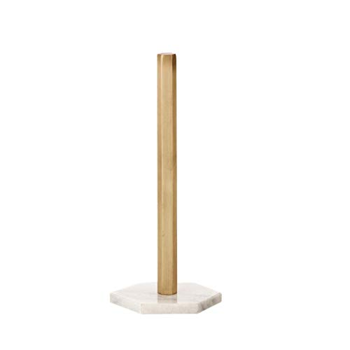 ZLSD Modern Countertop Marble Paper Towel Holder, Free Standing One Handed Kitchen Roll Holder Stand, Classic Marble + Brass Tissue Dispenser, 12 Inch Tall (Color : Gray)