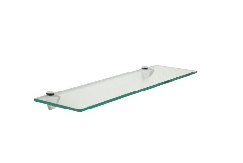 "Review Floating Glass Bathroom Shelf Finish: Chrome, Size: 18"" W x By Spancraft Glass by Spancraft Glass"
