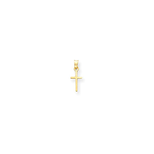 14k Yellow Gold Solid Mini Children Polished Cross Charm - Measures 11x6mm