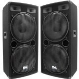 Seismic Audio - Pair of Dual 15'' PA DJ SPEAKERS 1000 Watts PRO AUDIO - Band, Bar, Wedding, Church