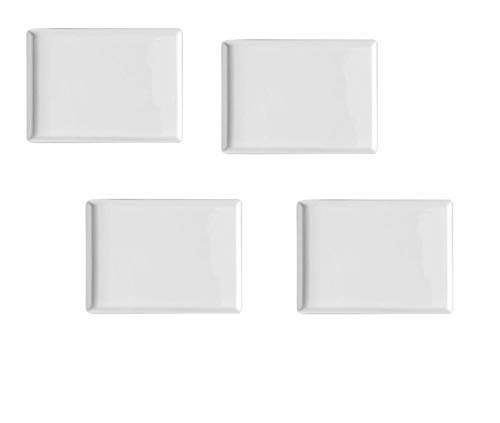 Set of 4 - Simple Plain Small Rectangle Solid White Porcelain Ceramic Dish Plate for Tapas Appetizers Sushi Condiment Sauce Dessert Snack Nuts Candy Chocolate Cheese Serving Plate 5