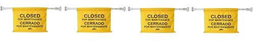 """Janico 1076 Closed for Maintenance Safety Sign, Expands up to 52"""", Bilingual, Yellow (4-(Pack))"""