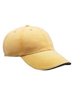 Anvil Solid Low Profile Sandwich Trim Pigment Dyed Twill Cap (Dijon) (One)