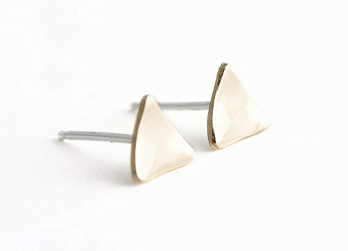 Simple Tri-Angle Curve Studs Earrings for Women Women (Silver Plated)