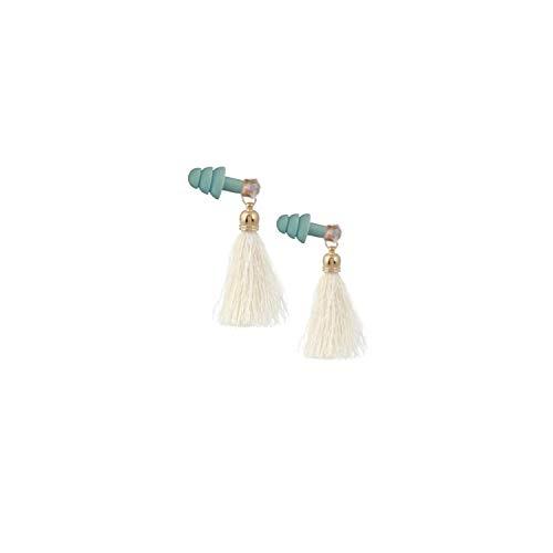 Cream Rhinestone Tassel Sleeping Earplugs in Blue ()