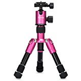"Selens SE-Tmini 7""-18"" inch Portable Camera Tripod with Ballhead and Protect Bag for Canon Nikon Sony Samsung, Panasonic, Olympus,kodak, Fuji, Cameras and Camcorders (Rose)"