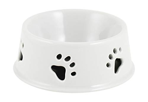 Winifred & Lily Ceramic Pet Bowl for Food & Water, with Non-Skid Rubber Bottom for Small, Large Dogs and Cats with Printed Sayings (Small White Paw Print)
