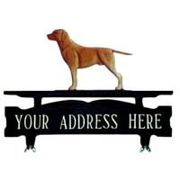 One Line Mailbox Sign with Gold Retriever by Montague Metal
