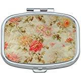 French Vintage Floral Toile Flower Custom Rectangle Silver Pill Box Pocket Medicine Tablet Holder Organizer Pill Decorator Case Purse
