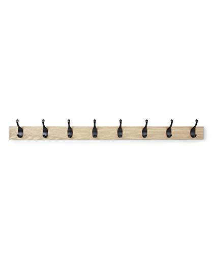 (AmazonBasics Wall Mounted Coat Rack - 8 Modern Hook, Natural)