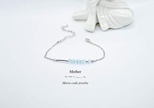 Saananda Morse code Mother blue topaz bracelet Personalized custom name and birthstone silver/gold filled 6