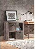 Better Homes and Gardens.. Bookshelf Square Storage Cabinet 4-Cube Organizer (Weathered) (Rustic Gray, 4-Cube) (Wood Weathered Grey)
