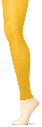 Grandeur Hosiery Girls' Solid Colored Seamless Microfiber Semi Opaque Dance Ballet Costume Footless Tights Leggings Fashion Stockings Gold Yellow Large (Yellow Girls Tights)