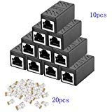 RJ45 Coupler Ethernet Connectors Cat 7 Cat6 Cat5 Cat5e in-Line Coupler Ideal for Extending The Ethernet Cables Female to Female (Black) (10PCS) by WofuL