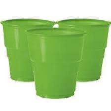 Line Green Plastic Cups