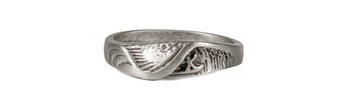 Strickly Boarding Mens Lead-free Pewter Wet Dreams Wave Ring Size 9