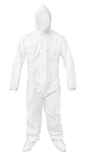 ABC White 55G Microporous Coverall XL size. Boot, Hood, Elastic Cuffs, Ankles, Waist. Heavy-Duty Protective Coveralls. Unisex Disposable Workwear for cleaning service, painting, -