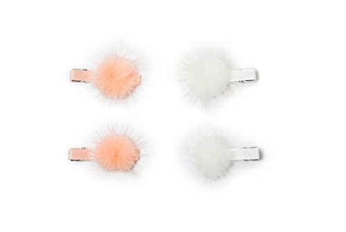 Pom Pom Hair Clip 4 PC (Baby Pink/White) by Cute New York