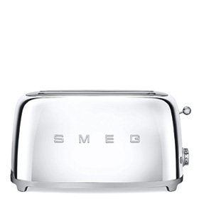 Smeg TSF02SSUS 4 Slice Toaster with 6 Browning Levels, Stainless Steel Ball Lever Knob, Backlit Chrome Knob, Self-Centering Racks and Automatic Slice Pop Up in Chrome