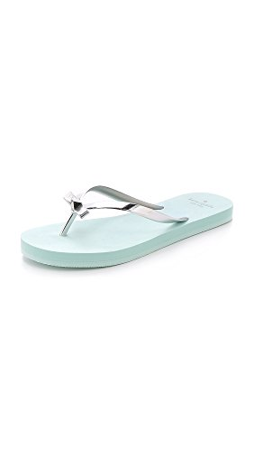 Kate Spade New York Women's Happily Flip Flop,  Silver/Light Blue Ethylenevinyl Acetate, 7 M US