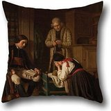 Oil Painting Amalia Lindegren - Lillans Sista Bädd ('The Last Bed Of The Little One') Cushion Covers 18 X 18 Inches / 45 By 45 Cm For Kids,car,festival,kids Boys,couch,dining Room With Each