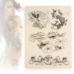 10 x Lotus & Carp Patterned Tattoo Practice Skin Synthetic Flexible Body Art Supply for Needle Machine