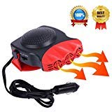 Portable Car Heater, Car Defroster Defogger, Heating Cooling Fan, 30 Seconds Fast Heating, Auto Ceramic Heater Windshield Defroster that Plugs Into Cigarette Lighter 12V 150W 3-Outlet