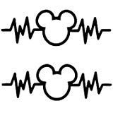 Mickey Mouse Heartbeat 2 Pack Black Decal Vinyl Sticker|Cars Trucks Vans Walls Laptop| Black |5.5 x 2 in|LLI710