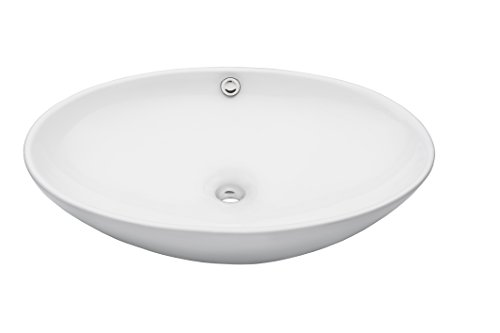 Novatto BIANCO UOVO Ceramic Vessel Sink With Overflow