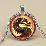 New Fashion Dragon Necklaces Mortal Kombat Pendants Glass Dome Jewelry Necklace Pendant